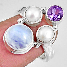 925 silver 8.03cts natural rainbow moonstone amethyst pearl ring size 6.5 p90649