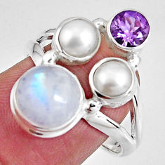 925 silver 8.05cts natural rainbow moonstone amethyst pearl ring size 7 p90659