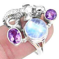 925 silver 6.92cts natural rainbow moonstone fairy mermaid ring size 9 p42898