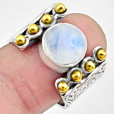 925 silver 5.07cts natural rainbow moonstone gold solitaire ring size 7.5 p81039