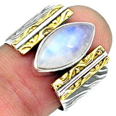 925 silver 6.18cts natural rainbow moonstone gold solitaire ring size 7.5 p87934