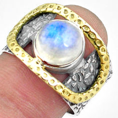 925 silver 4.91cts natural rainbow moonstone gold solitaire ring size 9 p87973