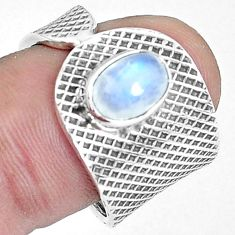 925 silver 2.20cts natural rainbow moonstone oval solitaire ring size 8 p37893