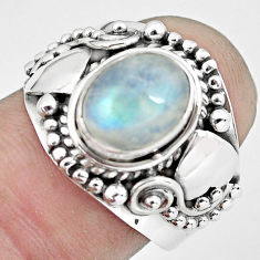 925 silver 3.16cts natural rainbow moonstone oval solitaire ring size 7.5 p57696