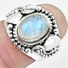 925 silver 2.81cts natural rainbow moonstone oval solitaire ring size 7 p57699