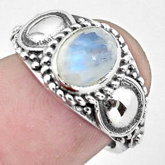 925 silver 2.01cts natural rainbow moonstone oval solitaire ring size 8 p61280