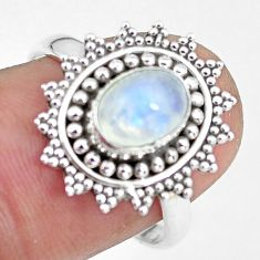 925 silver 2.13cts natural rainbow moonstone oval solitaire ring size 8 p64259