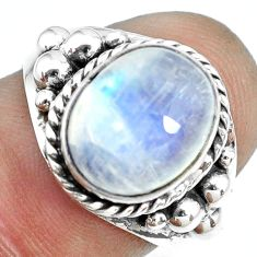 925 silver 5.38cts natural rainbow moonstone oval solitaire ring size 7 p69780
