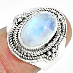 925 silver 4.54cts natural rainbow moonstone oval solitaire ring size 6.5 p70159