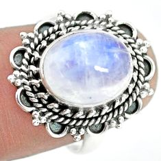 925 silver 4.92cts natural rainbow moonstone oval solitaire ring size 7 p72292