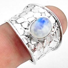 925 silver 3.16cts natural rainbow moonstone oval solitaire ring size 8 p74859