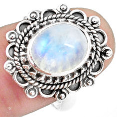 925 silver 5.16cts natural rainbow moonstone oval solitaire ring size 8.5 p78860