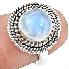 925 silver 5.11cts natural rainbow moonstone oval solitaire ring size 7 p78892