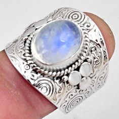 925 silver 5.35cts natural rainbow moonstone oval solitaire ring size 8 p89444