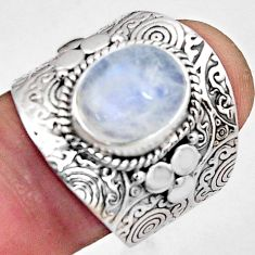 925 silver 5.34cts natural rainbow moonstone oval solitaire ring size 8.5 p89452