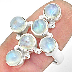 925 silver 5.72cts natural rainbow moonstone round holy cross ring size 9 p77678