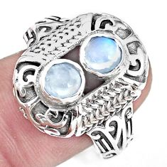 925 silver 1.82cts natural rainbow moonstone round solitaire ring size 8 p36140