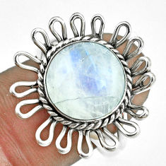 925 silver 5.87cts natural rainbow moonstone round solitaire ring size 8 p70060