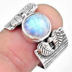 925 silver 5.18cts natural rainbow moonstone round solitaire ring size 9 p87876