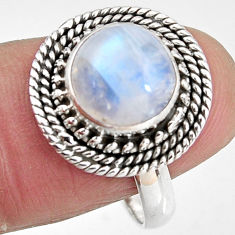 925 silver 4.93cts natural rainbow moonstone round solitaire ring size 9 p92264