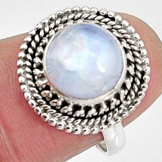 925 silver 4.84cts natural rainbow moonstone round solitaire ring size 7 p92284