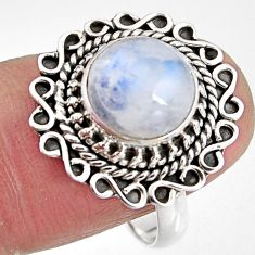 925 silver 4.92cts natural rainbow moonstone round solitaire ring size 8 p92289