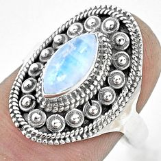 925 silver 2.34cts natural rainbow moonstone solitaire ring size 8 p53080