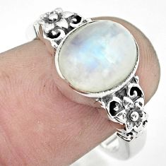 925 silver 4.36cts natural rainbow moonstone solitaire ring size 7 p55819