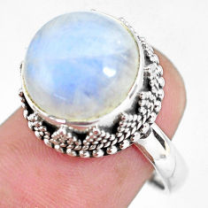 925 silver 7.62cts natural rainbow moonstone solitaire ring size 7.5 p56676