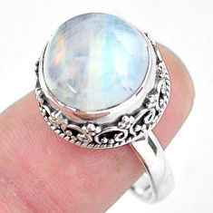 925 silver 6.47cts natural rainbow moonstone solitaire ring size 8.5 p56729