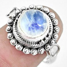 925 silver 5.10cts natural rainbow moonstone solitaire ring size 8 p57680