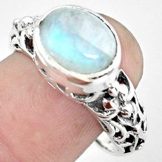 925 silver 5.31cts natural rainbow moonstone solitaire ring size 8.5 p61240