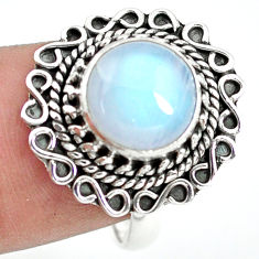 925 silver 4.93cts natural rainbow moonstone solitaire ring size 8.5 p72253