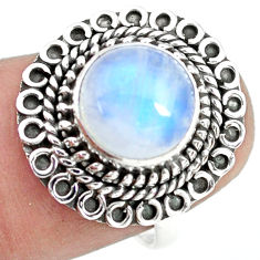 925 silver 4.69cts natural rainbow moonstone solitaire ring size 6.5 p72256