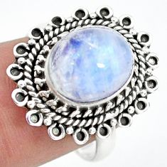 925 silver 5.87cts natural rainbow moonstone solitaire ring size 8 p72299