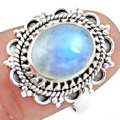 925 silver 4.91cts natural rainbow moonstone solitaire ring size 7.5 p78857