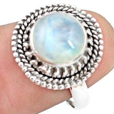 925 silver 4.68cts natural rainbow moonstone solitaire ring size 7.5 p78888