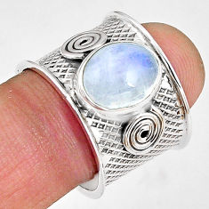 925 silver 5.18cts natural rainbow moonstone solitaire ring size 8.5 p89437
