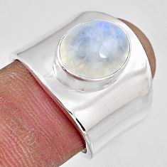 925 silver 5.28cts natural rainbow moonstone solitaire ring size 7 p91117