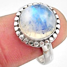 925 silver 6.01cts natural rainbow moonstone solitaire ring size 8 p91216