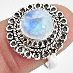 925 silver 4.84cts natural rainbow moonstone solitaire ring size 6.5 p92272