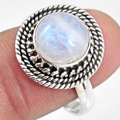925 silver 4.92cts natural rainbow moonstone solitaire ring size 8.5 p92278