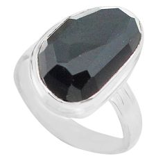 925 silver 11.21cts natural rainbow obsidian eye solitaire ring size 8 p72444