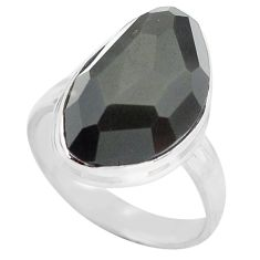 925 silver 13.77cts natural rainbow obsidian eye solitaire ring size 9 p72448