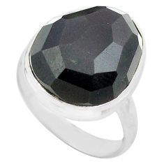 925 silver 15.02cts natural rainbow obsidian eye solitaire ring size 9 p72452