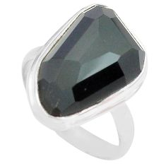 925 silver 14.14cts natural rainbow obsidian eye solitaire ring size 9 p72456
