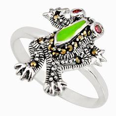 925 silver 0.33cts natural red garnet marcasite enamel frog ring size 7 c5572