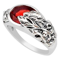 925 silver 4.48cts natural red garnet oval solitaire flower ring size 5.5 p81635