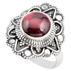925 silver 5.07cts natural red garnet round solitaire ring size 8 p85924