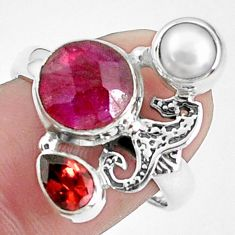 925 silver 6.56cts natural red ruby garnet fairy mermaid ring size 8.5 p42808